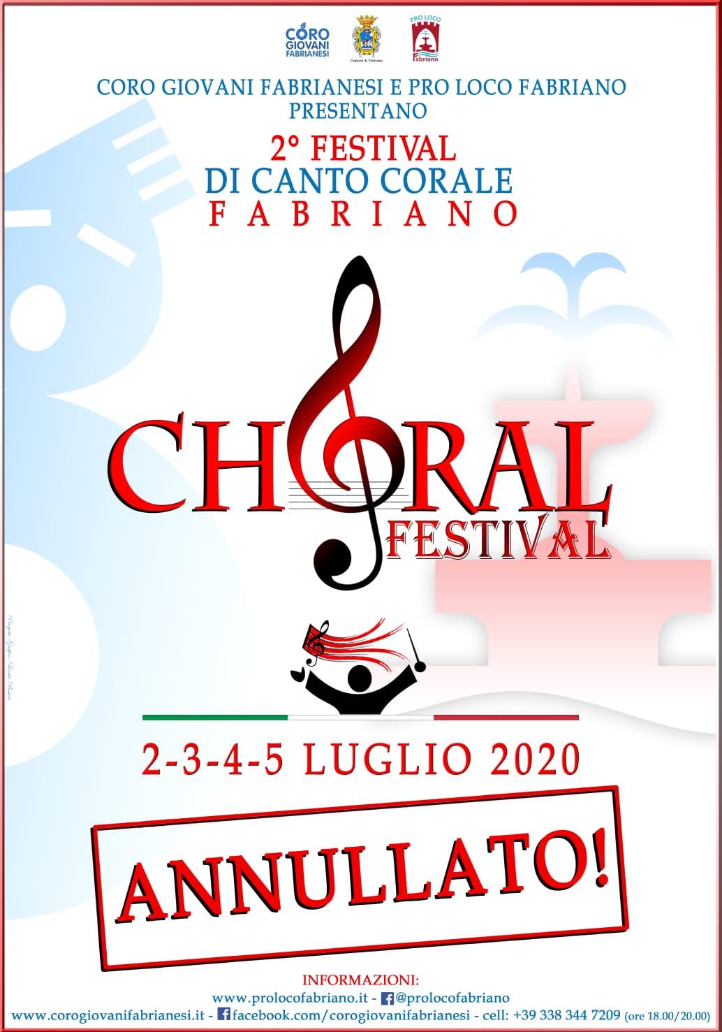 Fabriano Choral Festival annullato